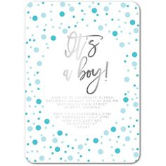 Bubbly Day: Boy - Personalized Foil Baby Shower Invitations - Picturebook - Paradise - Blue : Front