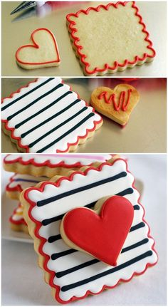 Hearts and Stripes Forever. - double-decker, striped Valentine cookies … easy to make and two cookies in one! Cookies Cupcake, Valentine's Day Sugar Cookies, Fancy Cookies, Flower Cookies, Heart Cookies, Iced Cookies, Cut Out Cookies, Cute Cookies, Easter Cookies