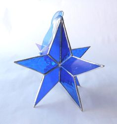 3D Stained Glass Star Cobalt Blue  Large by Glasserie on Etsy, $25.00