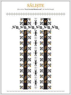 Semne Cusute: model de camasa din TRANSILANIA, Saliste Hungarian Embroidery, Folk Embroidery, Embroidery Patterns, Knitting Patterns, Cross Stitch Borders, Cross Stitching, Cross Stitch Patterns, Popular Costumes, Beading Patterns