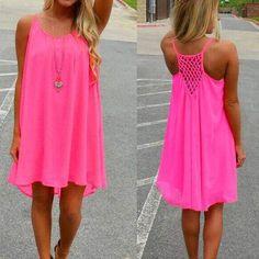 Vestidos Neon, Fashion Vestidos, Pink Beach Dresses, Summer Dresses, Dress Beach, Beach Tunic, Summer Skirts, Short Mini Dress, Short Dresses