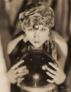 Vintage antique photography fortune teller 1920s flapper Gypsy bohemian psychic crystal ball