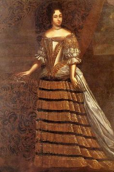 Marie Jeanne's bodice is straight from a Beaubrun portrait, but she wears a mantua with the over-skirt draped horizontally to clasps, then diagonally to other clasps, where the skirt falls over the under-skirt to the floor.