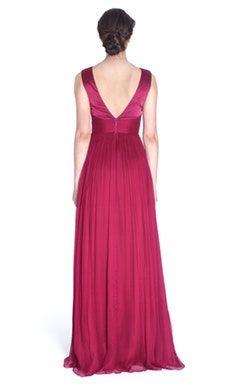 Vestido longo fúcsia em seda - Cristallini - Back