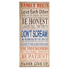 Family Rules Wall Décor.