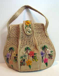 """#Vintage Straw Purse by """"Bags By Whidby"""" with Floral Raffia Embroidery summer beach bag #etsy"""