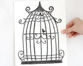 "12""x9"", Original Birdcage Art Drawing on paper, Birdcage decor, Charcoal pencil on papers, Office wall art, Pencil Drawing, Gift for father"