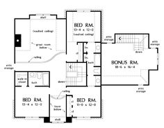 Second Floor Plan of The Fitzgerald - House Plan Number 1018