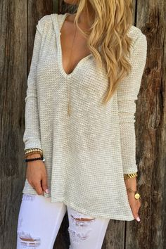 Hooded Pure Color Sweater