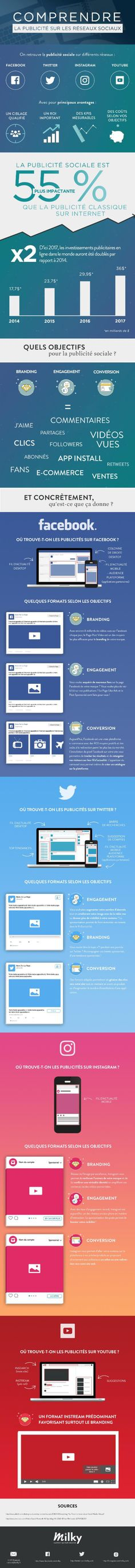 Publicité sur les réseaux sociaux #infographie [FR] Seo Marketing, Business Marketing, Content Marketing, Social Media Marketing, Digital Marketing, Social Media Trends, Social Networks, Ecommerce Seo, Web Design