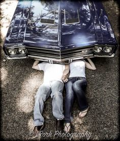 Engagement photos with muscle car: buick