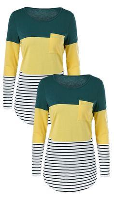 $11.09 Color Block Striped Longline T-Shirt