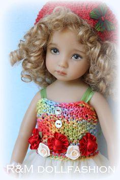 "R&M DOLLFASHION BRIGHT LINE handknit set OOAK for Effner LITTLE DARLING 13"" doll. BIN $54.99."