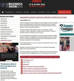 #SHERLOCK VISITS THE #BUSINESS SHOW  OLYMPIA 27TH & 28TH NOVEMBER  Private Detectives Answers Investigation are exhibiting at  The Business Show', Olympia  at the end of November  Entry to the exhibition is free.  It is not every day that you can return to the office and say you have just had a conversation with Sherlock.  We hope to see you there – further information on our presence at the Expo can be seen at http://www.answers.uk.com/services/businessshowolympia.htm