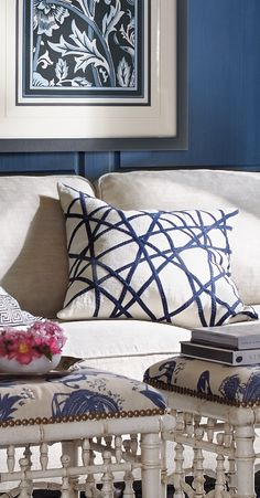 Hand-dyed linear trimmings in Cobalt create dimension on our Modern Geometric Decorative Pillow.
