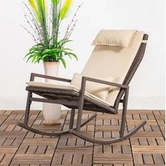 Longshore Tides Tremberth Outdoor Rocking Chair with Cushion Frame Color: Beige Wicker Rocking Chair, Outdoor Rocking Chairs, Wicker Chairs, Patio Chairs, Deck Seating, Armless Chair, Recliner, Chair Types, Traditional Furniture