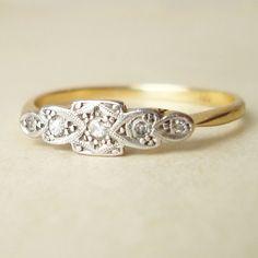 Art Deco 18k Gold Diamond Ring, Antique Diamond Platinum & 18k Gold Engagement Wedding Ring Approximate Size US 8.25. $325.00, via Etsy.