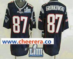 1faf23700 Men s New England Patriots  87 Rob Gronkowski NEW Navy Blue 2019 Super Bowl  LIII Patch Team Color Stitched NFL Nike Elite Jersey