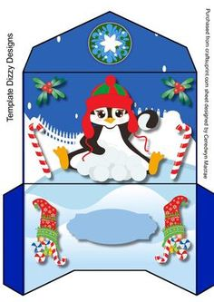Lovely Money Wallet with snow Penguin  on Craftsuprint designed by Ceredwyn Macrae - A lovely Money wallet to make and give to anyone at Christmas with ,Snow Penguin ,has one greeting tag left blank  - Now available for download!