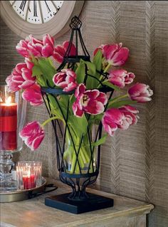 tulips in the beautiful Willow House framework urn!