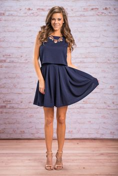 Every Memory Skirt, Navy || This flared skirt is simply sweet! Obviously, it looks great with it's matching crop tank! (Which we have for sale as well!) But it would look great with so many other tops as well! We love a versatile skirt! Especially one as chic as this!