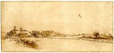 Rembrandt / Landscape with cottages, meadows and a distant windmill; with cottages amid trees at l. c.1650  Pen and brown ink, with grey-brown wash, on light grey-brown prepared paper
