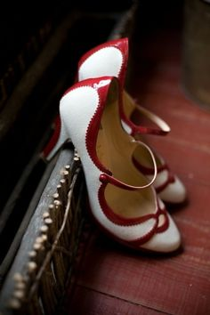 Darling red and white strapped low heels