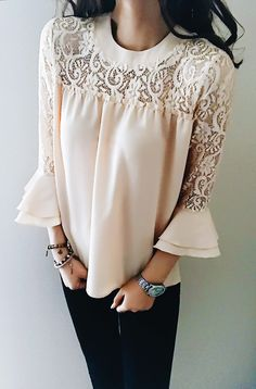 $23.99!Chicnico Casual Chiffon Lace Spliced Long Sleeve Top  fall fashion 2017 fashion trend shop online store travel causal outifit