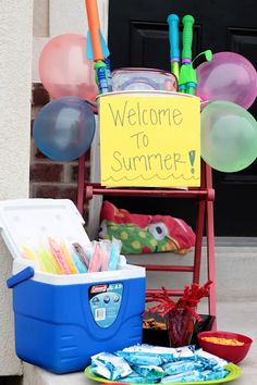 Welcome To Summer! Have a bucket of water toys, treats and friends ready to surprise your kids when they get home from their last day of school.
