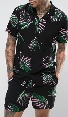 ASOS Co-Ord Regular Fit Shirt In Leaf Print from ASOS (men, style, fashion, clothing, shopping, recommendations, stylish, menswear, male, streetstyle, inspo, outfit, fall, winter, spring, summer, personal)