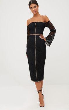 2e0571a4a1 PrettyLittleThing Blk Lace Eyelet Detail Bardot Midi Dress Size UK14 DH180  NN 05  fashion