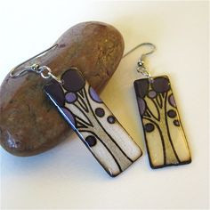 Wood Burned Tree Dangle Earrings by mybellebijoux on Etsy, $20.00