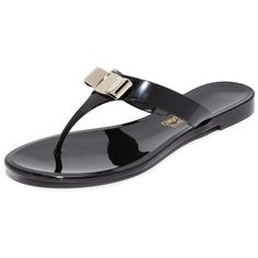 Salvatore Ferragamo Farelia Thong Sandals (16,980 INR) ❤ liked on Polyvore featuring shoes, sandals, salvatore ferragamo shoes, thong sandals, bow shoes, salvatore ferragamo and bow thong sandals