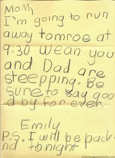 A collection of funny kids notes. Probably the greatest thing I've ever pinned. SO funny! Funny Notes From Kids, Kids Notes, Funny Kids, Funny Shit, Funny Love, Hilarious, Funny Stuff, Funny Things, Funniest Things