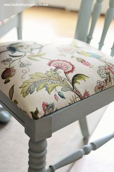 """Dining room chair in Annie Sloan Chalk Paint in Duck Egg and Chair cushion in P. Kaufmann """"Brissac"""" in Jewel"""