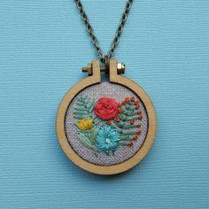 Flower Garden Embroidered Necklace / by ForestChorusStudio on Etsy