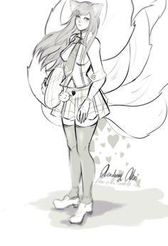 law-zilla:  Academy Ahri sketch ^^