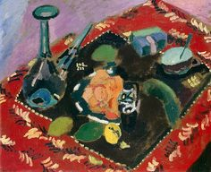 Henri Matisse Dishes and Fruit on Red and Black Rug 1906
