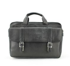 Leather Impressions Leather Zippered Top Briefcase. Removable strap. Zipper on the back of the bag