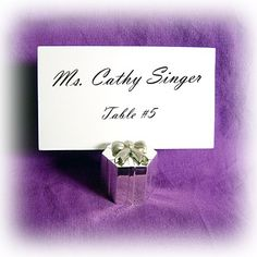 """Hexagon Gift Box Placecard Holder  Shiny Silver Plated with Brushed Silver Bow   Measures Approx. 1"""" H X 1"""" W #wedding #favors #gift #placecard"""