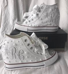 Bridal Wedges, Wedding Wedges, Wedge Wedding Shoes, Zapatos Bling Bling, Bling Shoes, Ribbon Shoes, Wedding Sneakers, Wedding Converse, Converse Wedges