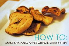 Apples are in season right now at your farmer's market - here's how to make delicious, homemade apple chips in 3 easy steps. Yummy Healthy Snacks, Healthy Food Choices, Vegetarian Recipes Easy, Healthy Eating Recipes, Vegan Snacks, Apple Recipes, Holiday Recipes, Fall Recipes, Wow Recipe