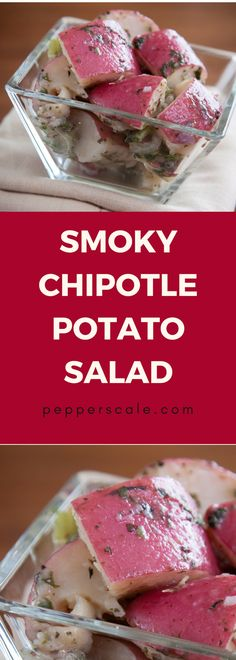 A simple earthy side. Looking for something simple and smoky to pair with your grilled meats? This smoky chipotle potato salad is a perfect match. Chipotle Potato Salad Recipe, Cornbread Salad Recipes, Cabbage Salad Recipes, Fruit Salad Recipes, Chicken Salad Recipes, Spicy Vegetarian Recipes, Vegetable Recipes, Winter Salad Recipes, Side Dish Recipes