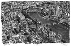 Aerial view of Houses of Parliament and Westminster Abbey - Original drawings, prints and limited editions by Stephen Wiltshire Stephen Wiltshire, Autistic Artist, Political Art, Amazing Drawings, Amazing Art, Houses Of Parliament, Westminster Abbey, Art For Art Sake, London Art