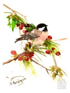 Chickadee 1 Art Print by Suren Nersisyan at Art.com
