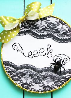 Lace Spiderweb Embroidery Hoop Art