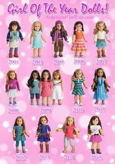 American Girl Dolls Girl of the year lineup GOTY Kanani Saige Isabelle Grace. I still have my Lindsay doll from 2001 American Girl Outfits, American Girl House, My American Girl Doll, American Girl Crafts, American Doll Clothes, Ag Doll Clothes, Doll Clothes Patterns, Lea Clark American Girl, Dress Patterns