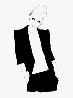 Fashion illustration - chic tailoring, black & white fashion drawing // Will Ev