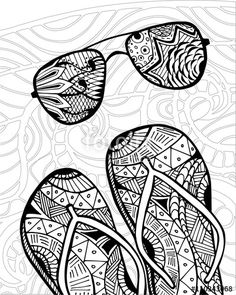 zentangle flip flops at the beach coloring page Cute Doodle Art, Doodle Art Designs, Doodle Art Drawing, Zentangle Drawings, Pencil Art Drawings, Art Drawings Sketches, Easy Drawings, Black Pen Drawing, Mandala Art Lesson