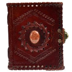 """Stone Embossed leather blank book w/ latch 4"""" x 5"""""""